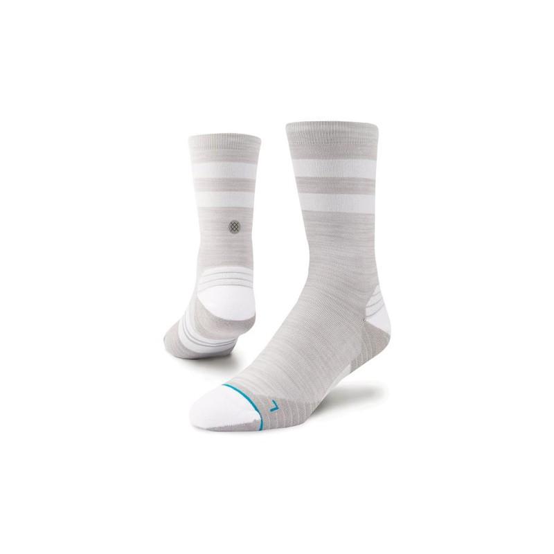 Black Sports Running Breathable Reflective Stance Mens Slanted Crew Socks
