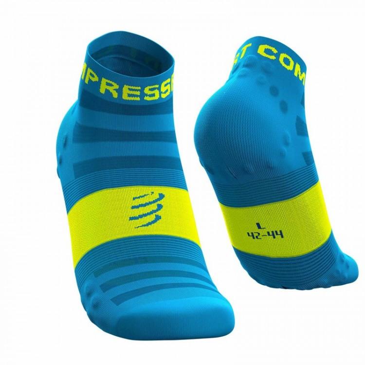 SOCKS COMPRESSPORT PRO RACING V3 ULTRALIGHT RUN LOW FLUOR BLUE